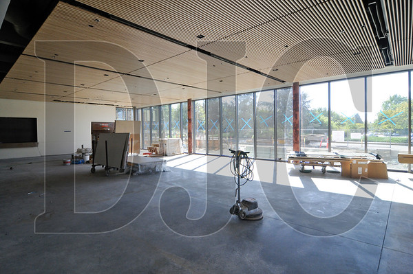 A new dining room on the building's ground floor is part of the expansion of food service on the campus.