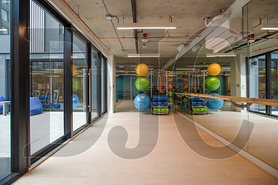 Tenant amenity space includes a small yoga studio adjacent to the fitness center and outdoor climbing wall. (Josh Kulla/DJC )