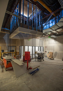 A skylight is being constructed in a common area between classrooms. (Josh Kulla/DJC)