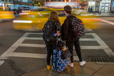 NYC waiting at the crosswalk