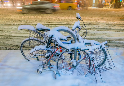Jumble of Bikes In The Snow NYC