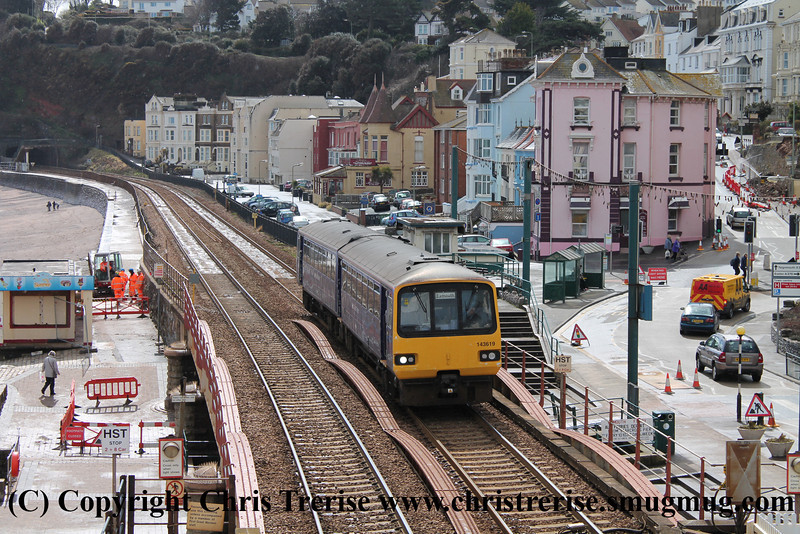 Class 143 2 Car Pacer DMU number 143 619 approaches Dawlish with 2F37 1423 Paignton to Exmouth.<br /> 11th April 2013