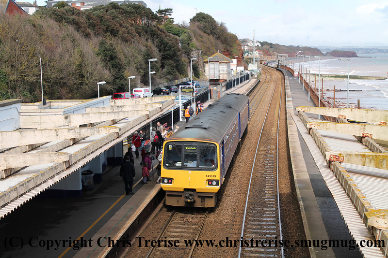 Class 143 2 Car Pacer DMU number 143 619 at Dawlish with 2F37 1423 Paignton to Exmouth.<br /> 11th April 2013