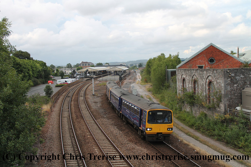 Class 143 2 Car Pacer unit number 143 618 departs Newton Abbot with 2T26 1758 Exmouth to Paignton.<br /> 2nd August 2013