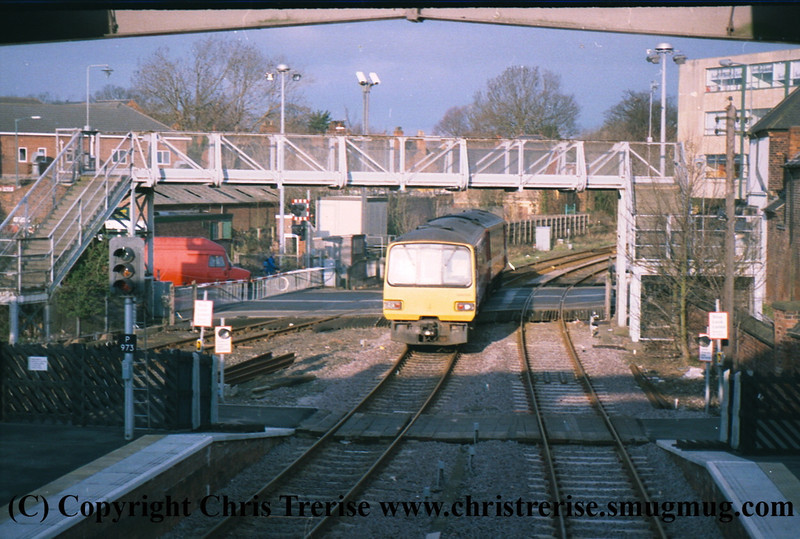 Class 144 2 Car Pacer DMU number 144 003 departs Grimsby Town with a Barton upon Humber service.<br /> 21st April 2001