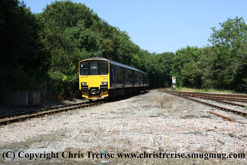 Class 150 2 Car Sprinter DMU number 150 126 arrives at Liskeard with the 1457 from Looe.<br /> 10th August 2012