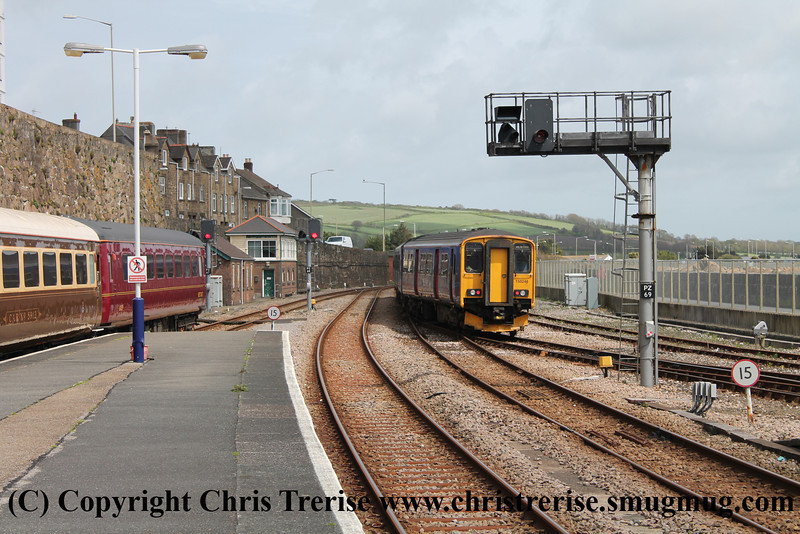 Class 150 2 Car Sprinter DMU number 150 266 and 150 248 depart Penzance with 2P90 1300 to Plymouth.<br /> 11th May 2013