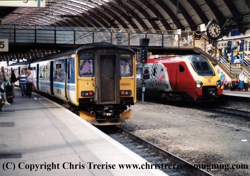Class 150 DMU and Class 221 DEMU at York