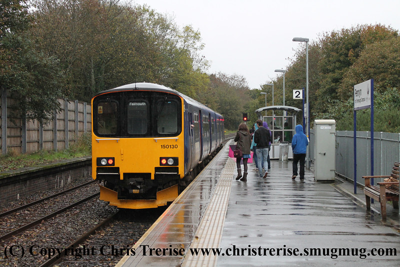 Class 150 2 Car DMU number 150 130 calls at Penryn with 2F80 1335 Falmouth Docks to Truro.<br /> 3rd November 2013
