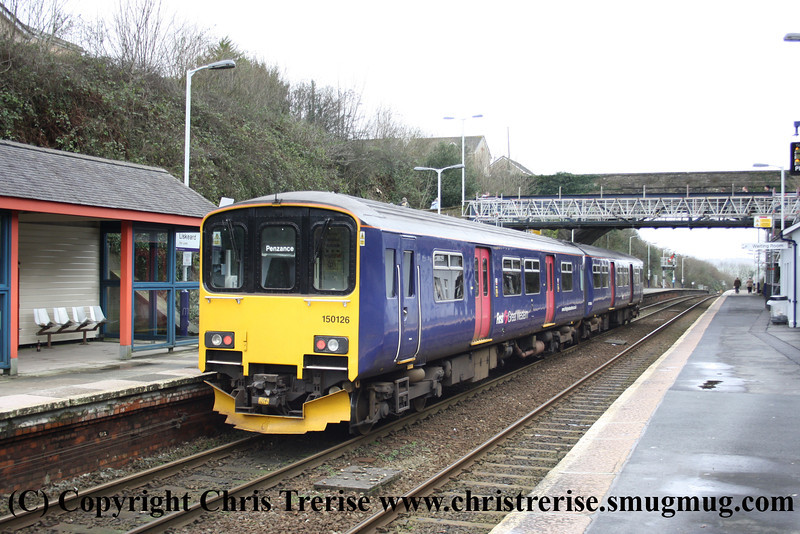 Class 150 2 Car Sprinter DMU number 150 126 at Liskeard with 2C45 0935 Exeter St Davids to Penzance.<br /> 4th February 2013
