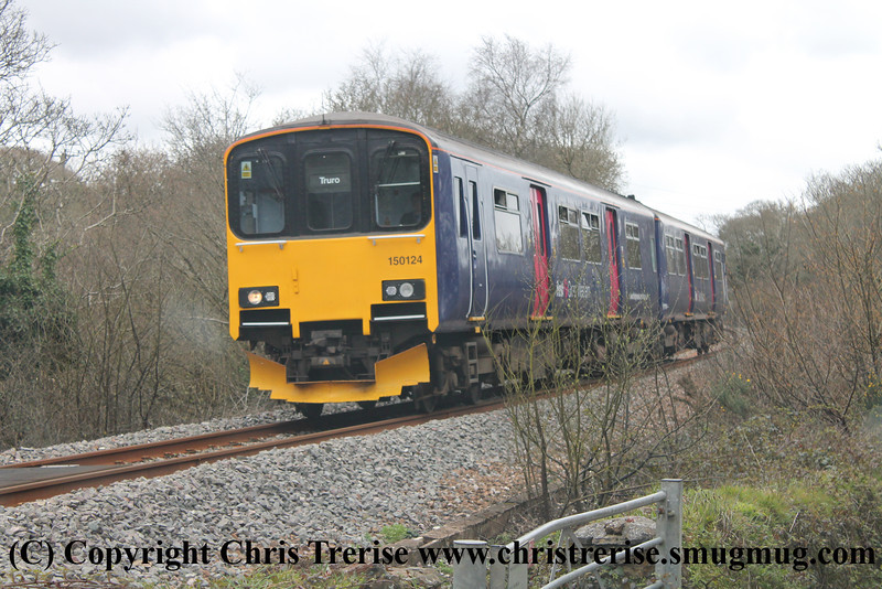 Class 150 2 Car Sprinter DMU number 150 124 Penweathers with 2F80 1335 Falmouth Docks to Truro.<br /> 21st April 2013