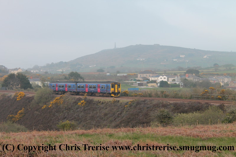 Class 150 2 Car Sprinter DMU Set number 150 234 passes Brea Village with 2P95 1916 Penzance to Plymouth.<br /> 23rd April 2015
