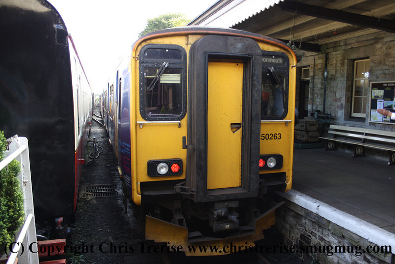 Class 150 2 Car Sprinter DMU number 150 263 at Bodmin General with the 1555 departure to Bodmin Parkway.<br /> 29th September 2012