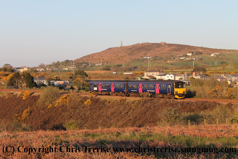 Class 150 2 Car Sprinter DMU Set number 150 130 passes Brea Village with 2P95 1916 Penzance to Plymouth.<br /> 22nd April 2015