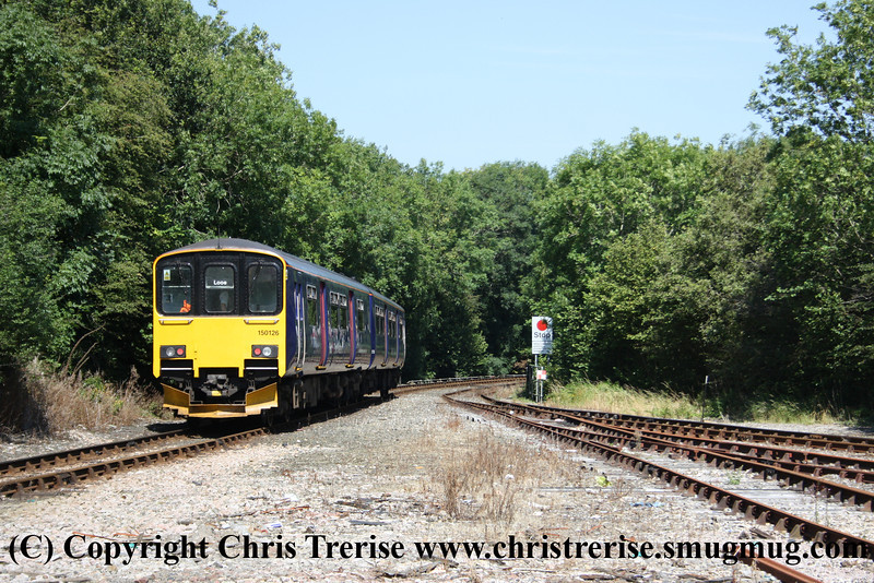 Class 150 2 Car Sprinter DMU number 150 126 departs Liskeard with the 1428 to Looe.<br /> 10th August 2012
