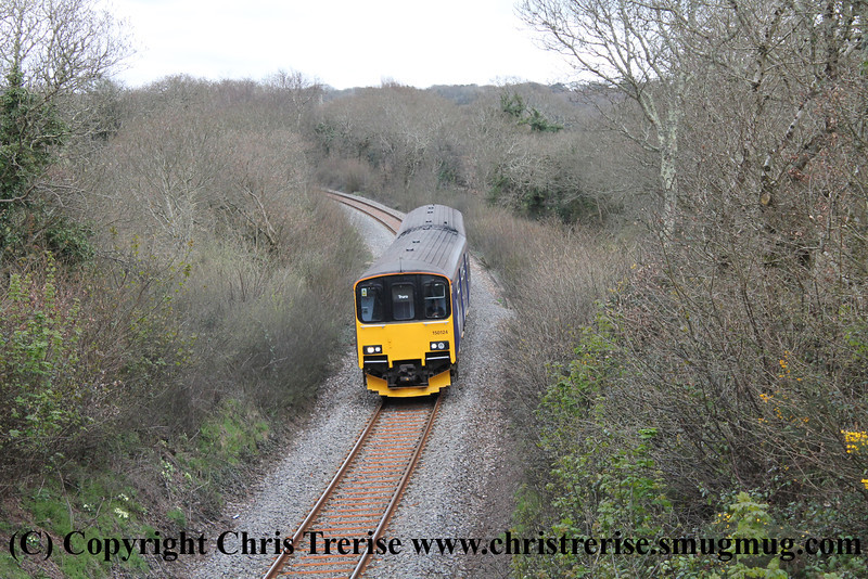 Class 150 2 Car Sprinter DMU number 150 124 passes Penweathers with 2F78 1235 Falmouth Docks to Truro.<br /> 21st April 2013