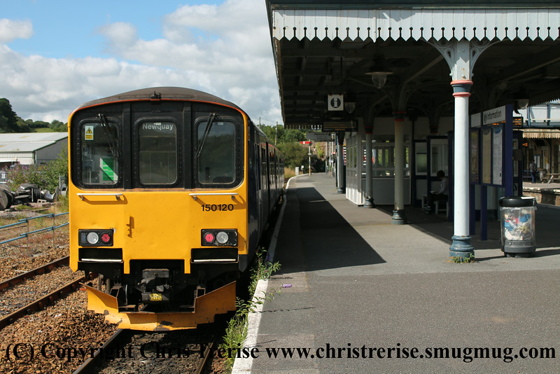 Class 150 2 Car Sprinter DMU Set number 150 120 at Par with 2N06 1638 to Newquay.<br />  13th July 2014