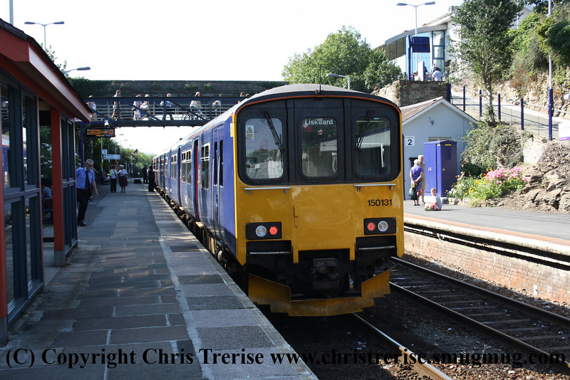 Class 153 Single Car DMU number 153 368 arrives at Liskeard attached to 150 131 with the 1557 from Plymouth.<br /> 10th August 2012