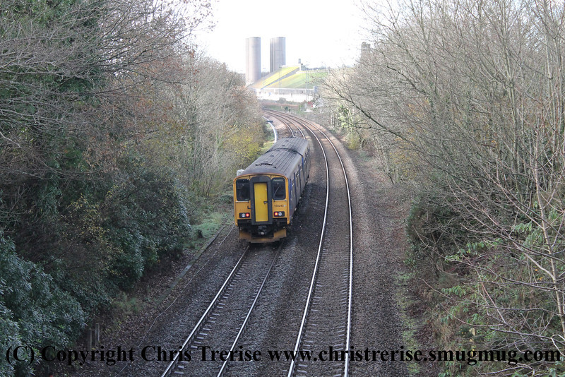 Class 150 2 Car Sprinter DMU number 150 243 passes Burngullow with 2C45 0927 Exeter St James' Park to Penzance.<br /> 9th December 2013