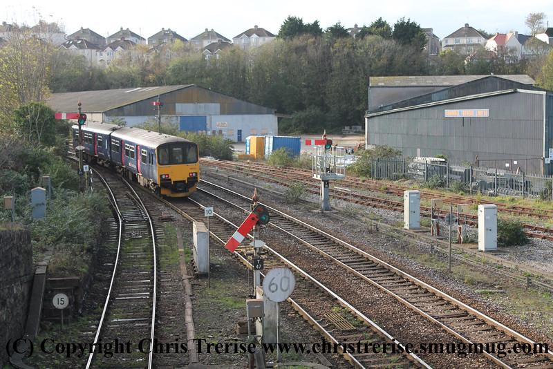 Class 150 2 Car Sprinter DMU Set number 150 131 departs Truro working 2C47 1215 Exeter St Davids to Penzance.<br />  2nd November 2014