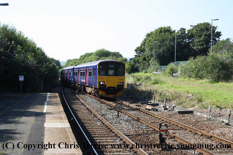 Class 153 Single Car DMU number 153 368 shunts at Liskeard attached to 150 131 to form the 1643 to Plymouth.<br /> 10th August 2012