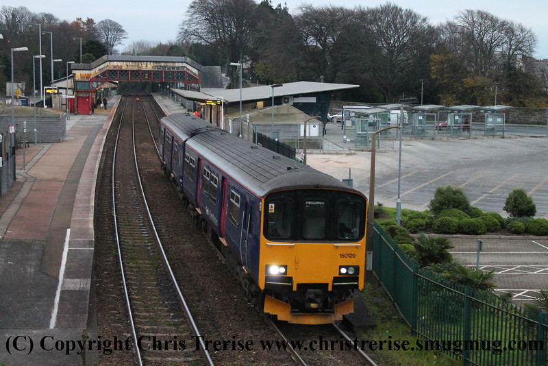Class 150 2 Car Sprinter DMU number 150 129 departs St Austell with 2C48 1458 Plymouth to Penzance.<br /> 1st December 2013