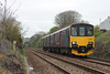 Class 150 2 Car Sprinter DMU Set number 150 123 departs Redruth and passes Carn Brea Village with 2C42 0524 Bristol Temple Meads to Penzance.<br /> 25th April 2015