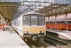 Class 150/1 2 Car Sprinter DMU Set number 150 136 at Crewe with the 1638 to Derby.<br /> 23rd July 1989