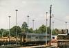 Class 155 2 Car Sprinter DMU Set number 155 307 stabled at Exeter St Davids.<br /> 12th June 1989