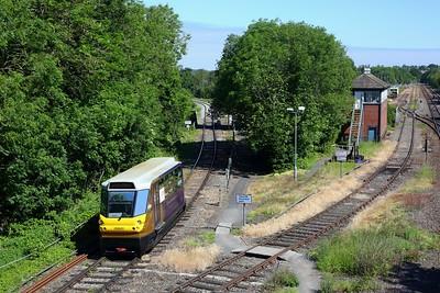 139001 working 2P06 1020 Stourbridge Town to Stourbridge Junction arriving at Stourbridge junction on 13 June 2021  Class139, WMR, StourbridgeTownbranchline