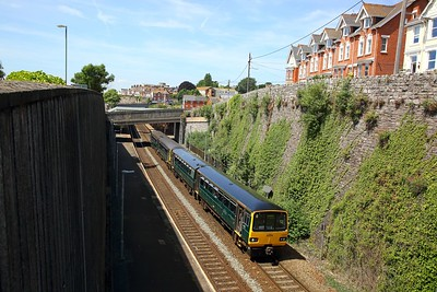 143619+143603 on the 2F08 1149 Paignton to Exmouth at Teignmouth on the 24th June 2018