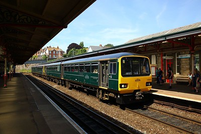 143619+143603 on the 2F08 1149 Paignton to Exmouth at Teignmouth on the 24th June 2018 1
