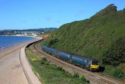 143611 leading 150247 on 2F11 0853 Paignton to Exmouth at Langstone Rock on 30 July 2020  Class143, GWR, SDML