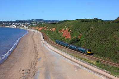 143619 leading 150234 on 2F12 0917 Paignton to Exmouth at Langstone Rock, Dawlish Warren on 30 July 2020  Class143, GWR, SDML