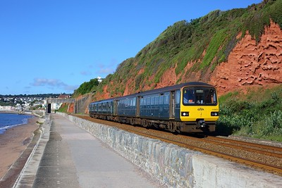 143603 leading 150233 working 2F10 0815 Paignton to Exmouth at Dawlish on 30 July 2020  GWR, Class143, SDML