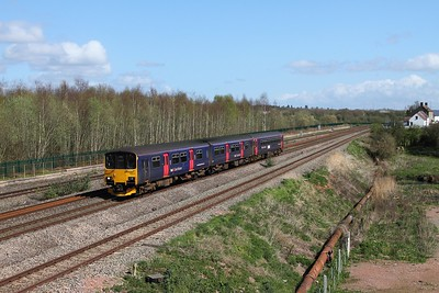 150131+153361 on the 2U14 1104 Taunton to Cardiff Central at Undy on the 31st March 2017
