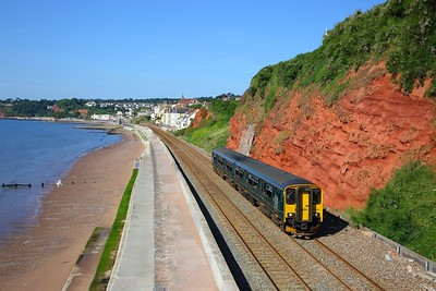 150244 on the 2E87 0808 Plymouth to Exeter St Davids at Dawlish, Rockstone bridge on the 23rd June 2018