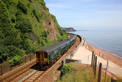 150232+150246 on the 2C47 1215 Exeter St Davids to Plymouth at Teignmouth on the 24th June 2018