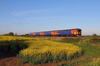 EMT 153x4 on the 2L53 0656 Nottingham to Peterborough at Holme east of Newark on the 3rd May 2014