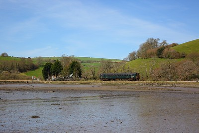 153372 pulls away from Terras Crossing, Sandplace with the 2L83 1320 Liskeard to Looe on the 18th April 2018