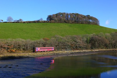 153325 on the 2L82 1248 Looe to Liskeard near Sandplace on the 1st December 2017.