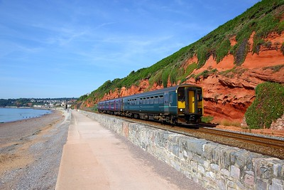 153382+150238 on the 2F04 0949 Paignton to Exmouth at Dawlish on the 24th June 2018