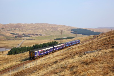 156453+156446 on the 1Y41 0822 Glasgow Queen Street to Mallaig at Achallader on the 8th April 2019  The train divided at Crianlarich