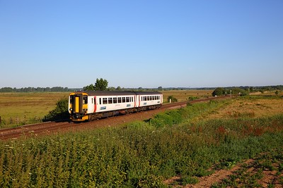 156407 on the 2J64 0645 Norwich to Lowestoft at Cantley on the 3rd July 2018