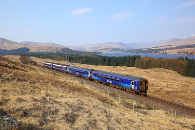 156446+156453 on the 1Y41 0822 Glasgow Queen Street to Mallaig at Achallader on the 8th April 2019. The train divided at Crianlarich