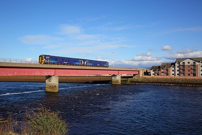 158719 on the 2H75 1712 Inverness to Ardgay over the Ness Railway Bridge near Clachnaharry on the 31st March 2018
