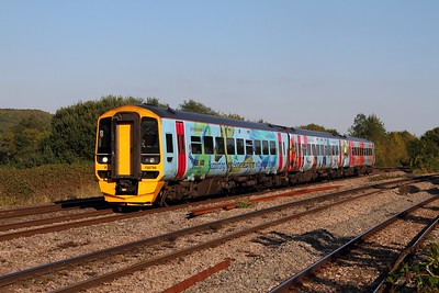 158798 on the 1F20 1323 Portsmouth Harbour to Cardiff Central at Bishton on the 30th September 2015