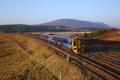 158729 on the 1B06 0536 Inverness to Edinburgh at Dalwhinnie on the 22nd April 2019