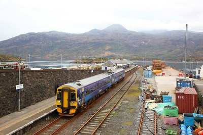 158715 on the 2H86 1713 Kyle of Lochalsh to Elgin departing Kyle of Lochalsh on the 20th April 2019