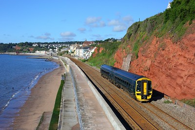 158763 working 2Z11 0749 Plymouth to Exeter St Davids at Dawlish, Rockstone bridge on 30 July 2020  Class158, GWR, SDML